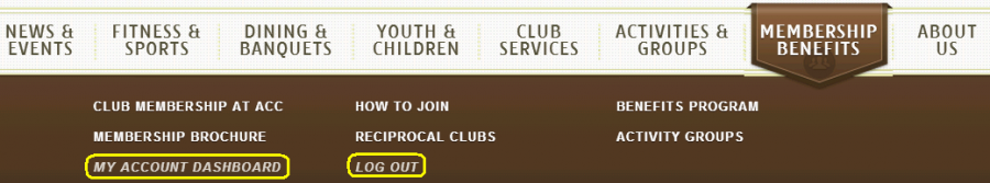 Membership Benefits Menu Logged In Links