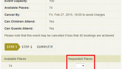 Make a Booking - Heading and Places Highlighted